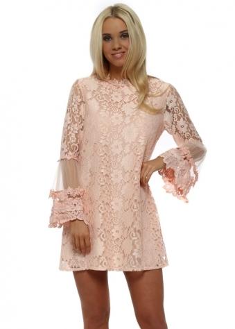 Floral Lace Mini Shift Dress