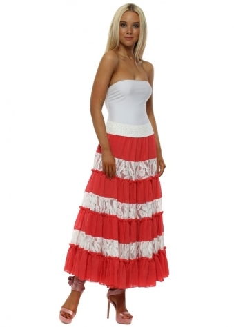 Red & White Lace Maxi Skirt With Sequin Waistband