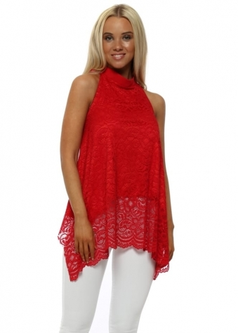 Red Lace Bow Halterneck Top