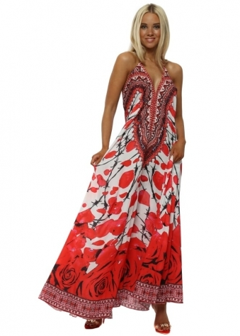 Red Petal Barbed Wire Halterneck Maxi Dress