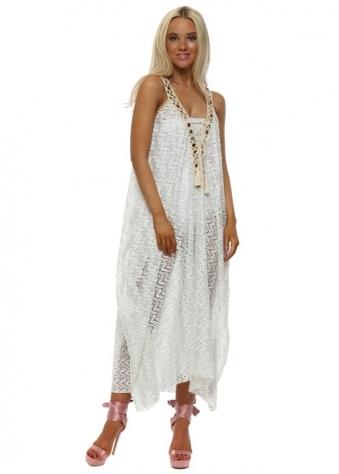 White Lace Amber Crystal Maxi Kaftan Dress