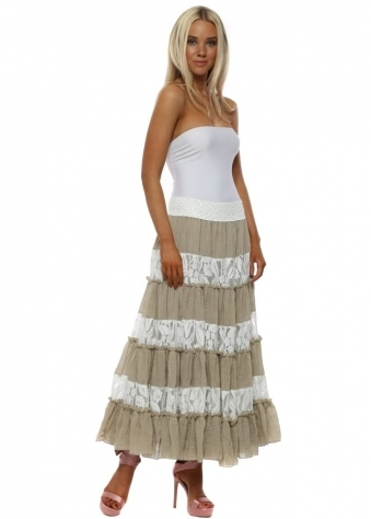 Mocha & White Lace Maxi Skirt With Sequin Waistband