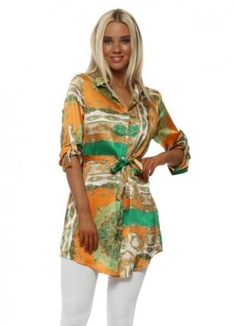 Orange & Green Chain Print Shirt Dress