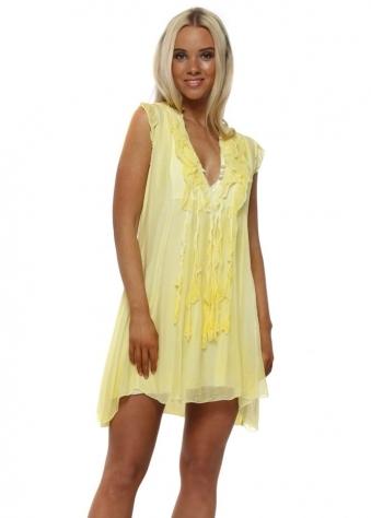 Yellow Silk Ruffle Tunic Dress
