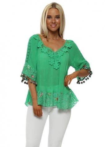 Green Floral Applique Floral Lace Top