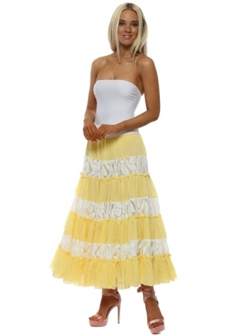 Yellow & White Lace Maxi Skirt With Sequin Waistband