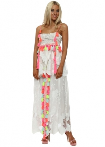 White Lace Neon Tassle Split Front Maxi Skirt & Top