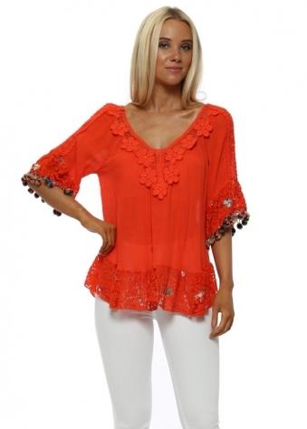 Orange Floral Applique Floral Lace Top