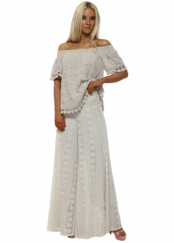 Beige Lace Bardot Flared Trousers Suit