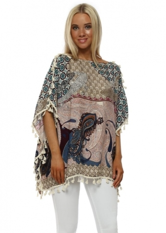 Blue Paisley Cotton Tassel Kaftan