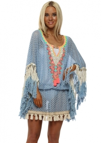 Miss Coco Blue & Gold Lace Kaftan Top