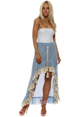 Blue & Gold Lace Hi Lo Maxi Skirt