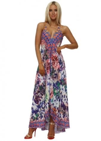Purple Animal Print Halterneck Maxi Dress