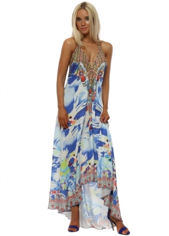 Blue Tropical Fish Halterneck Maxi Dress