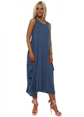 Denim Blue Jersey Parachute Dress
