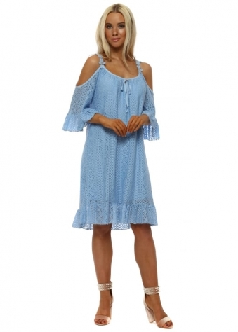 Blue Circle Lace Cold Shoulder Dress