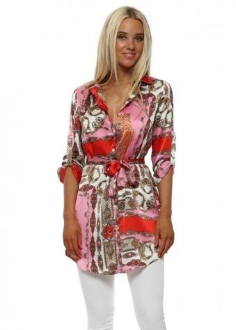 Pink & Red Chain Print Sateen Shirt Dress