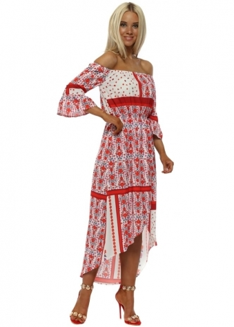 Red Floral Scarf Print Bardot Dress