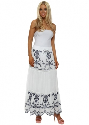 White & Navy Embroidered Maxi Skirt