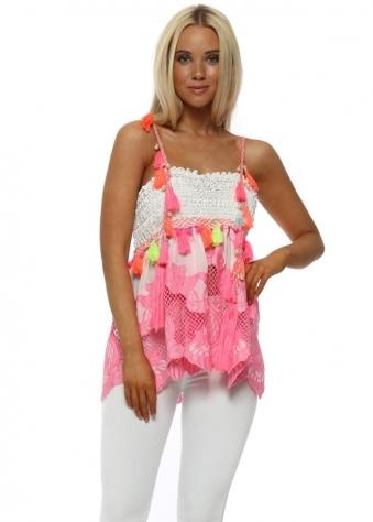Paradie Pink Lace Neon Tassle Top