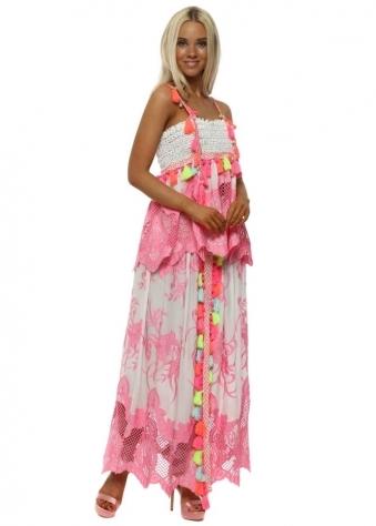 Pink Lace Neon Tassle Split Front Maxi Skirt & Top