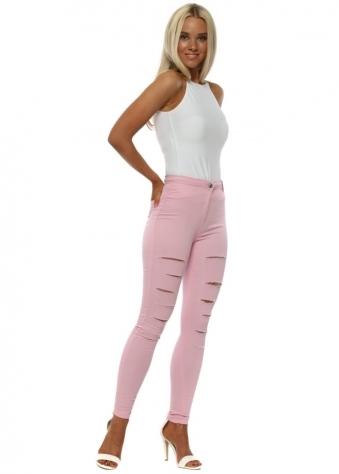 Pink Multi Slash Skinny High Waisted Jeggings