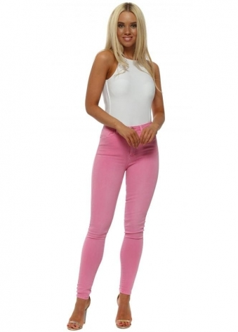 Candy Pink Stretch Fit Skinny High Waisted Jeans