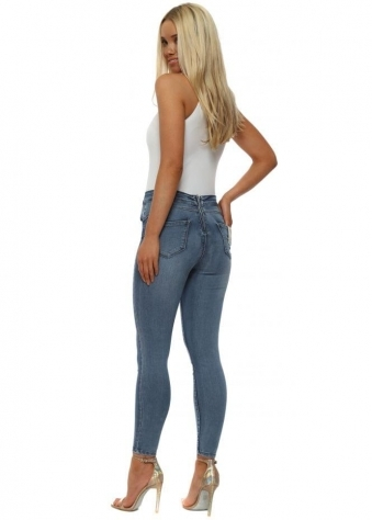 Denim Stretch Fit Back Zip Ankle Grazer Jeans