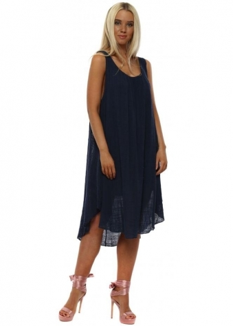 Navy Loose Fit Cotton Dress