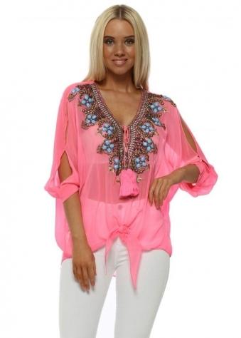 Biaritz Neon Pink Jewelled Tie Bottom Top