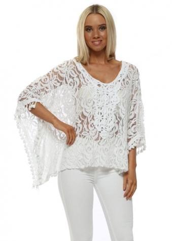 White Sheer Floral Lace Tassle Kaftan Top