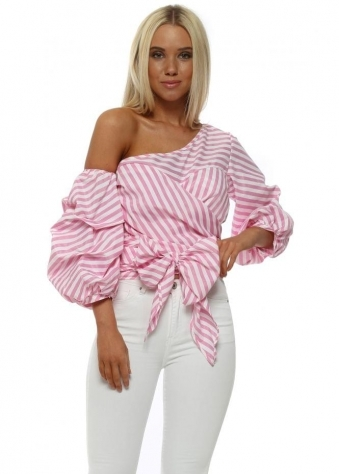 Pink Pinstripe One Shoulder Bow Blouse