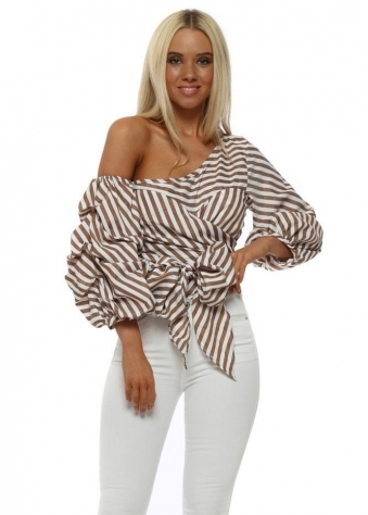 Brown Pinstripe One Shoulder Bow Blouse