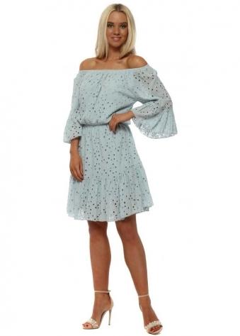 Blue Crochet Lace Off The Shoulder Dress