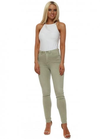 Green Stretch Fit Skinny High Waisted Jeans