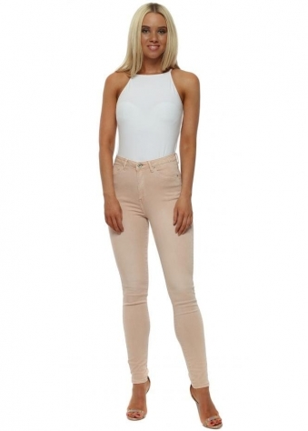 Nude Pink Stretch Fit Skinny High Waisted Jeans
