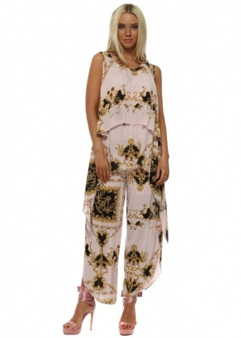 Pink Scarf Print Layered Top & Trouser Set