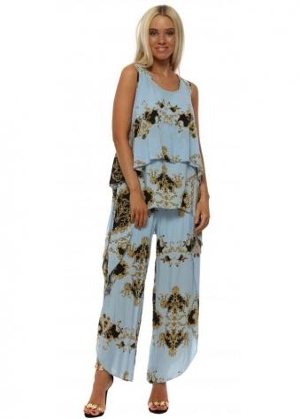Blue Scarf Print Layered Top & Trouser Set