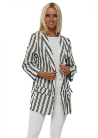 Grey & White Striped Linen Boyfriend Blazer