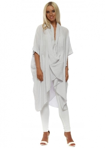 Grey Cotton Crossover Draped Oversized Top