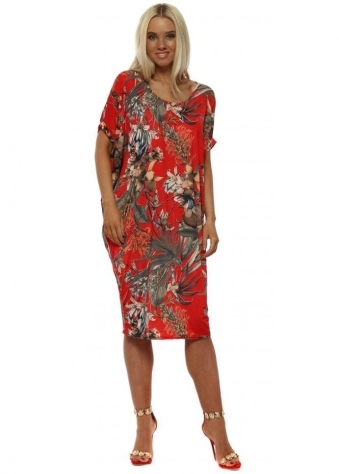 Red Floral Palm Print Tunic Dress