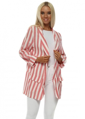 Coral & White Striped Linen Boyfriend Blazer
