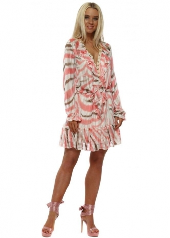 Coral Feather Stripe Frill Hook & Eye Dress