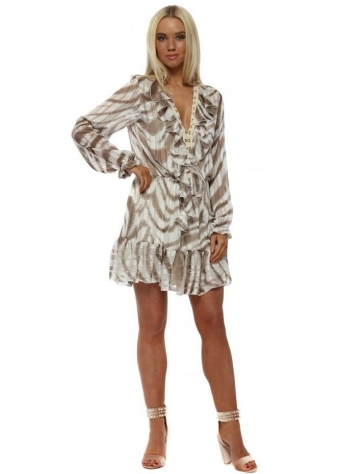 Taupe Feather Stripe Frill Hook & Eye Dress