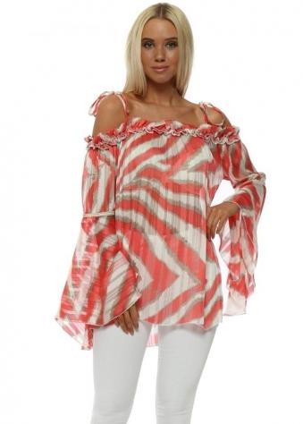 Coral Blurred Stripe Bardot Bell Sleeve Tunic Top