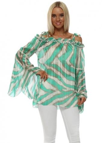 Green Blurred Stripe Bardot Bell Sleeve Tunic Top
