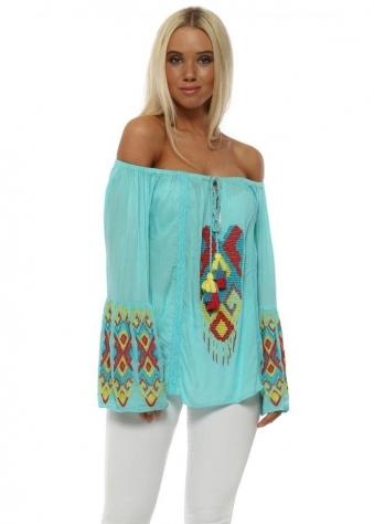 Turquoise Aztec Beaded Bardot Top