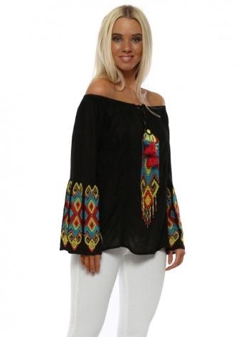 Black Aztec Beaded Bardot Top