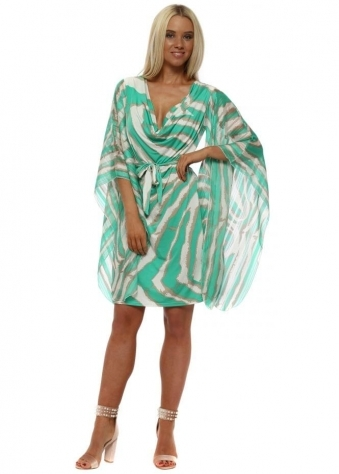 Green Blurred Stripe Kaftan Tie Dress