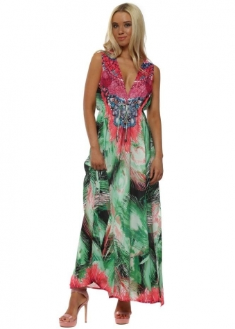Green & Pink Palm Embellished Maxi Dress